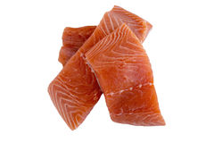 Top View Raw Cut Salmon. Top View Stack Three Raw Cut Salmon Pieces Isolated on White Background Royalty Free Stock Photography
