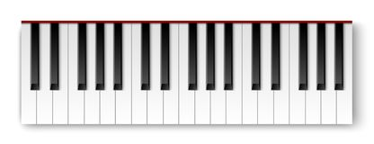 Top view of realistic detailed shaded piano keyboard stock illustration