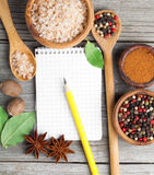 Top view of recipe book with ingredients Royalty Free Stock Images
