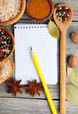 Top view of recipe book Royalty Free Stock Image
