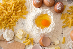 Top view of recipe for homemade pasta Royalty Free Stock Photos