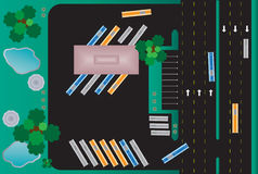 Top view of Rectangle building bus station Royalty Free Stock Photo