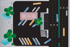 Top view of Rectangle building bus station Royalty Free Stock Photography