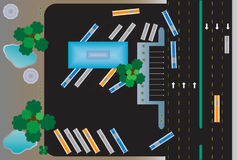 Top view of Rectangle building bus station Royalty Free Stock Image