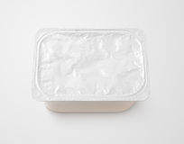 Top view of rectangular aluminum foil cover food tray on gray. Background with clipping path royalty free stock images