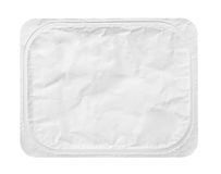 Top view of rectangular aluminum foil cover food tray isolated on white Royalty Free Stock Photo