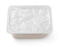 Top view of rectangular aluminum foil cover food tray isolated on white. Background with clipping path stock image