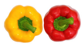 Top View, Red And Yellow Sweet Bell Pepper Royalty Free Stock Photography