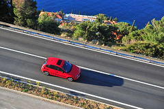 Top view of the red car on the road Royalty Free Stock Photo