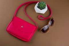Red clutch ,succulent and sun glasses on brown background , summer fashion set flat lay. Top view red clutch ,succulent and sun glasses on brown background stock image
