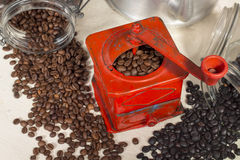 Top view of a red color traditional manual coffee grinder Royalty Free Stock Photography