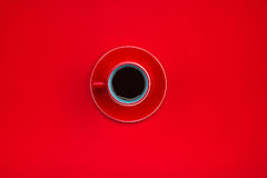 Top view of a red cup of tasty espresso coffee.  Stock Images