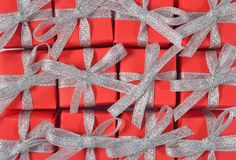 Top view of red gifts Royalty Free Stock Photos