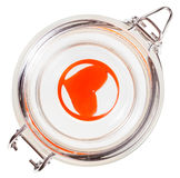 top view of red heart in closed glass jar isolated Royalty Free Stock Image