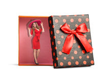 Top view of red isolated gift box. With ribbon on white background royalty free stock photo