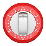 Top view of red modern kitchen timer isolated on white Royalty Free Stock Photo