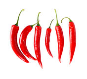 Top view of red peppers isolated white background stock photography