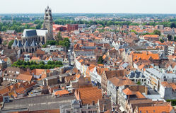 Top view of the red roofs of Bruges. Stock Image