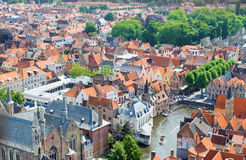 Top view of the red roofs of Bruges. Royalty Free Stock Photo