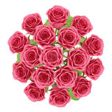 Top view of red roses in glass vase isolated on white Royalty Free Stock Image