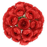 Top view of red roses in vase isolated on white Royalty Free Stock Images