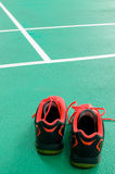 Top view of red sport shoes on green floor. Top view of red sport shoes on green background Royalty Free Stock Photo