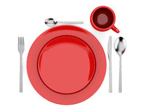 Top view of red table setting isolated on white Royalty Free Stock Photos
