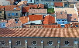 Top view on red tiled roofs Stock Images