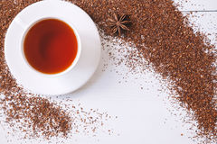 Top view of red traditional African rooibos tea in Royalty Free Stock Photos
