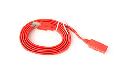 Top view red usb cable on white background Stock Images