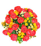 Top view of red and white roses flowers bouquet and yellow tulip Stock Photo