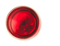 Top of view of red wine in the glass isolated. On white background with space for text Stock Image