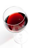 Top of view of red wine glass under daily light royalty free stock image
