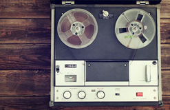 Top view of reel to reel vintage recorder. Stock Photography