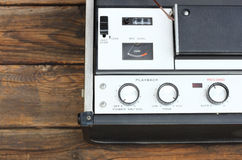 Top view of reel to reel vintage recorder. Stock Photo