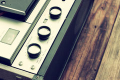Top view of reel to reel vintage recorder Royalty Free Stock Photo