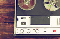 Top view of reel to reel vintage recorder Royalty Free Stock Photography