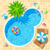 Top view relax swimming pool vector Royalty Free Stock Photography