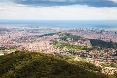 Top  view of residence district in Barcelona from Tibidabo Royalty Free Stock Images