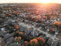 Free Top View Residential Subdivision With Colorful Leaves Autumn Sun Stock Image - 132928331