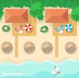 Top view on the resort, the bungalows, the beach and the sea. Summer vacation. Flat design background Stock Images