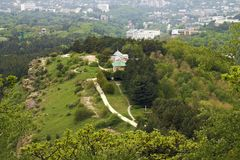 Top view of  resort mountain Park and the city of Kislovodsk. Royalty Free Stock Photos