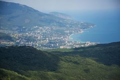 Top view of the resort town on the beach stock photography