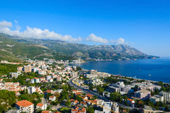 Top view of resort town of Becici on Adriatic coast, Montenegro Royalty Free Stock Photos