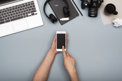 Top view responsive design office desk Stock Image