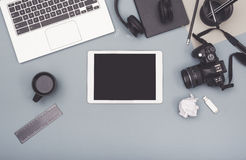 Top view responsive design office desk Stock Photo