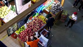 Top view of restocking foods for sale stock video footage