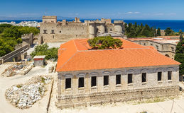 Top view of restored building and the main castle of Rhodes Royalty Free Stock Photography