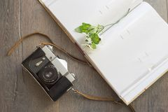 Top view of retro camera Royalty Free Stock Photo