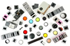 Top view of retro camera and slide projector with accessories is stock photo